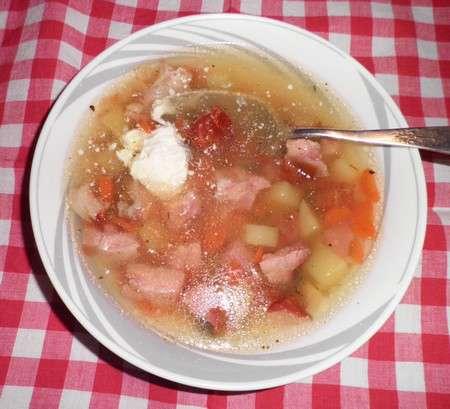Гороховый суп c копченой рулькой