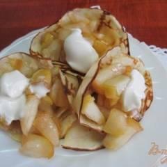 Блинчики на молоке и сливочном масле с яблочной начинкой