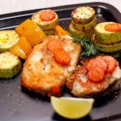 фото рецепта Жареная треска с овощами