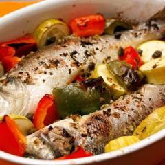 фото рецепта Сибас, запеченный с овощами