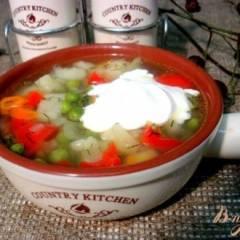 Суп с зелёным горошком и перцем