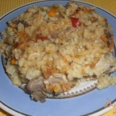 Рисовая каша с курицей в духовке