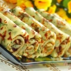 фото рецепта Сырные блины с зеленью