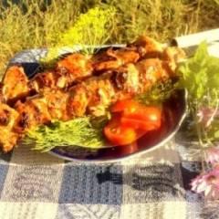 Шашлык из куриного филе с прослойками сала