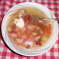 фото рецепта Гороховый суп c копченой рулькой