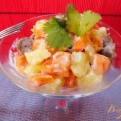 Теплый салат из сердец с морковью
