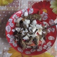 Салат из печеных баклажанов и перца
