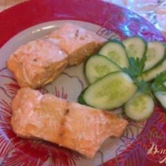 Запеченное филе лосося, с лимоном