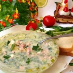 фото рецепта Окрошка в ледяной тарелке