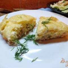 Пирог из лаваша с курицей и яйцом
