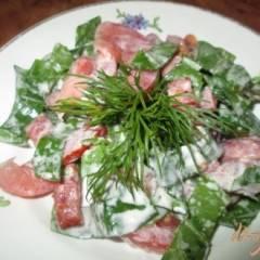 Салат с щавелем, помидорами и колбасой