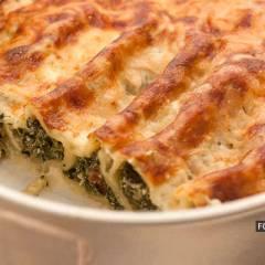 Каннелони с сырно-шпинатной начинкой