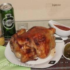 фото рецепта Курица запеченая на вертеле в духовке
