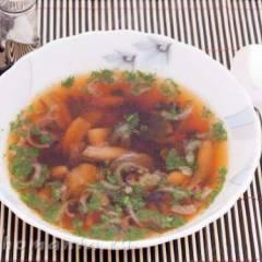 фото рецепта Суп с сушеными баклажанами и маринованными грибами