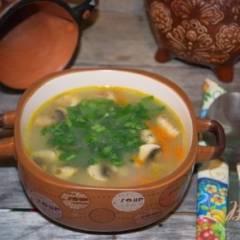 фото рецепта Овсяный суп с грибами и курицей