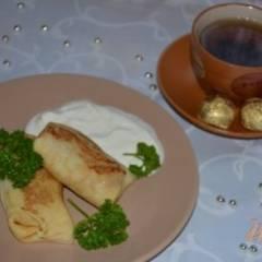 фото рецепта Блины на кислом молоке с мясной начинкой