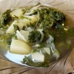 фото рецепта Зеленый суп из листьев салата