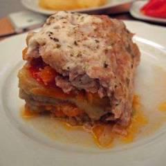 фото рецепта Мясной рулет с баклажанами и моцареллой