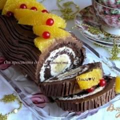 Шоколадно-творожный рулет