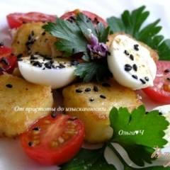 Салат из жареной поленты с пеперелиными яйцами, помидорами черри и цветками базилика