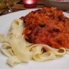 фото рецепта Спагетти с томатно-мясной подливой