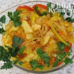фото рецепта Закуска из кабачков с овощами по-корейски
