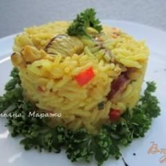 Рис с куриным мясом  и копчеными колбасками