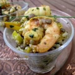 Индийский салат с креветками