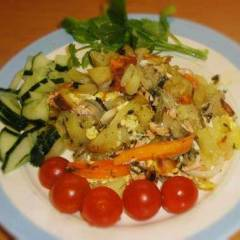 Рыба, запеченная с картофелем и морковью