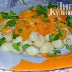 Ракушки с соусом из тыквы с креветками