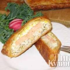 фото рецепта Кулебяка с рыбой и рисом