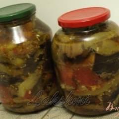 Закуска из баклажанов,перца и помидор