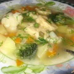Суп с сырными клецками и овощами