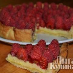 Творожный торт с малиной
