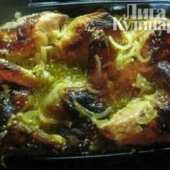 Курица запеченная с лимоном, медом и шафраном