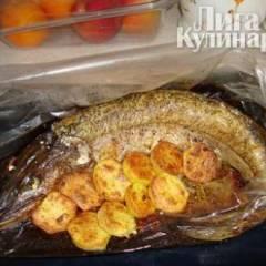 Рыба, запеченая на луковой подушке