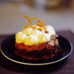 фото рецепта Пирожное с маскарпоне и апельсиновой карамелью