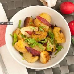 фото рецепта Жареный картофель с красным луком