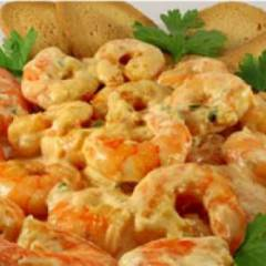 Жареные тигровые креветки в чесночном соусе