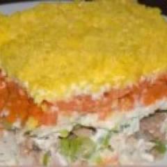 фото рецепта Салат мимоза с сайрой и рисом