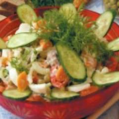 Салат зимний из свежих огурцов