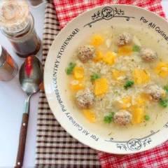 Тыквенный суп с рисом и мясными шариками