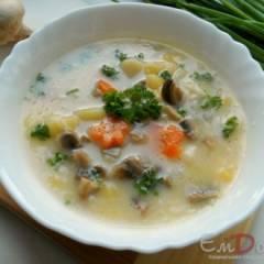 фото рецепта Суп с грибами и плавленным сыром