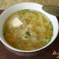 Суп из минтая с маслом и укропом