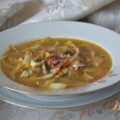 Суп с яичными блинчиками на курином бульоне