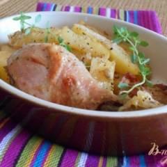 Куриные окорочка в йогуртово-лимонном маринаде с картофелем