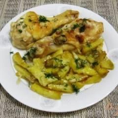 Куриные окорочка с картофелем в духовке