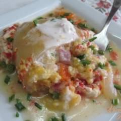 фото рецепта Фаршированный перец кукурузной крупой с ветчиной
