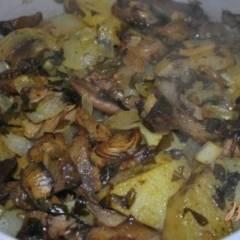 фото рецепта Овощной гарнир с грибами вешенками