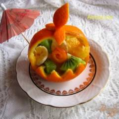 Фруктовый салат в апельсиновой корзине